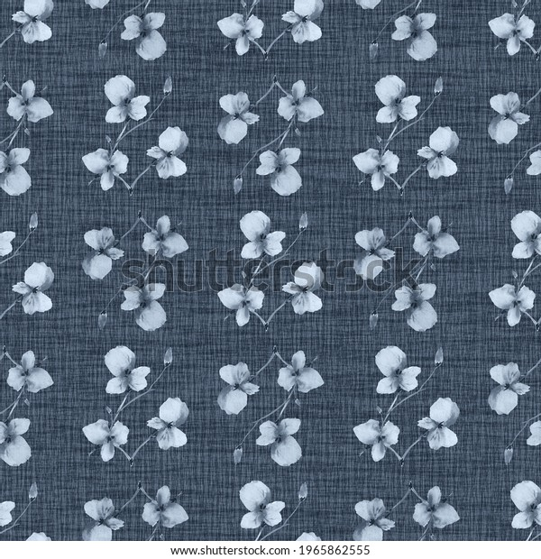 Seamless pattern wild small blue  flowers and branchs on a dark blue background. Watercolor