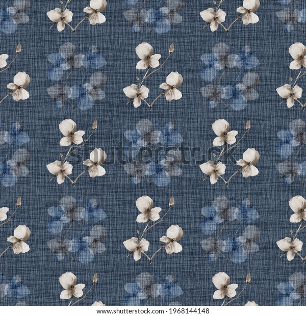 Seamless pattern wild small blue and beige flowers on a dark blue background. Watercolor