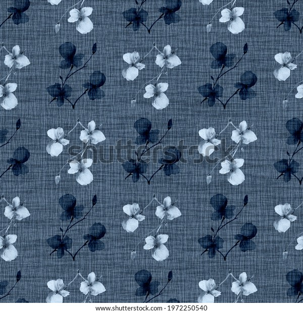Seamless pattern wild small blue and dark flowers on a linen dark blue background. Watercolor