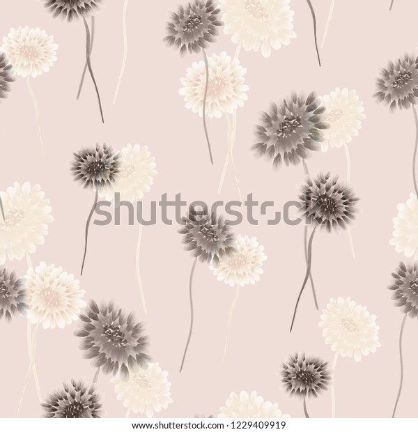 Seamless pattern of wild small gray and white flowers on a light pink background. Watercolor