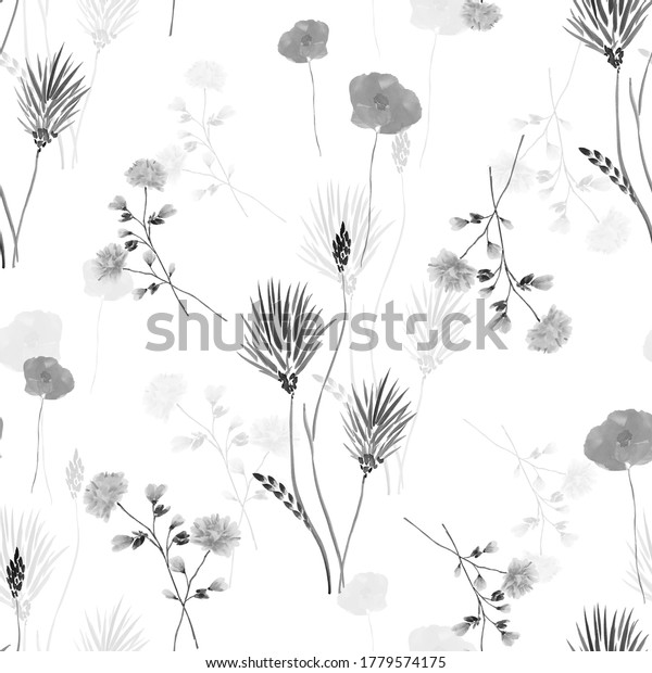 Seamless pattern of wild small gray flowers and  on a white background. Watercolor
