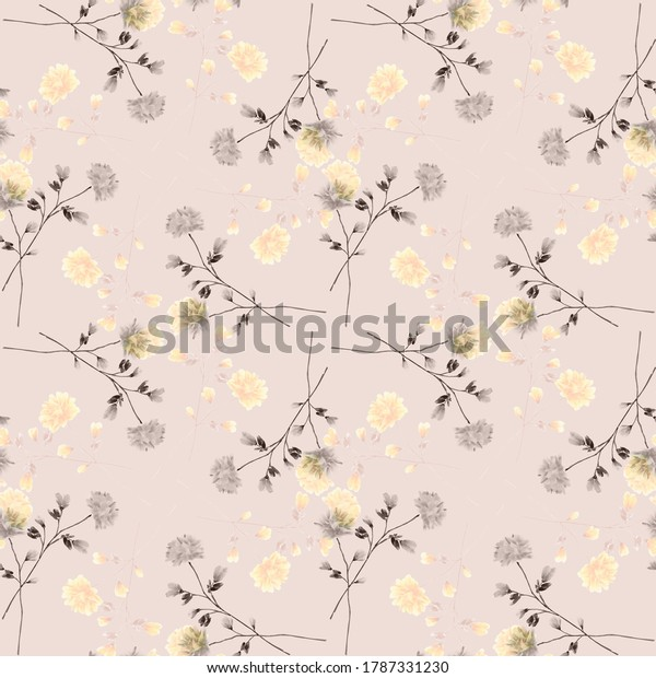 Seamless pattern wild small gray and yellow flowers on a pink background. Ornament. Watercolor