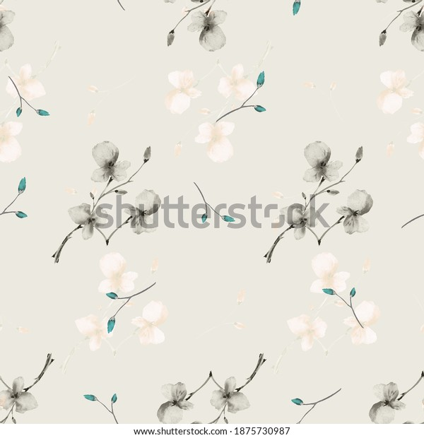 Seamless pattern wild small gray flowers on a light beige background. Watercolor