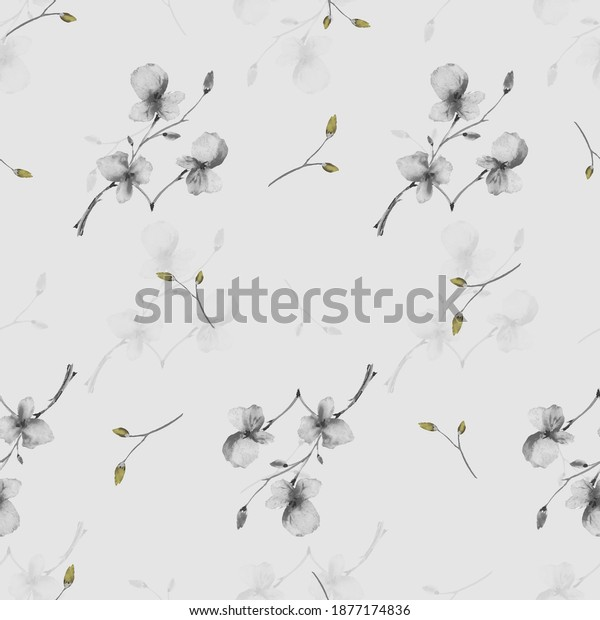 Seamless pattern wild small gray and yellow flowers on a light gray background. Watercolor