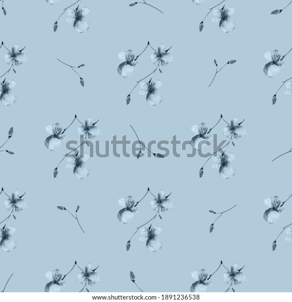 Seamless pattern of wild small gray flowers on a blue background. Watercolor