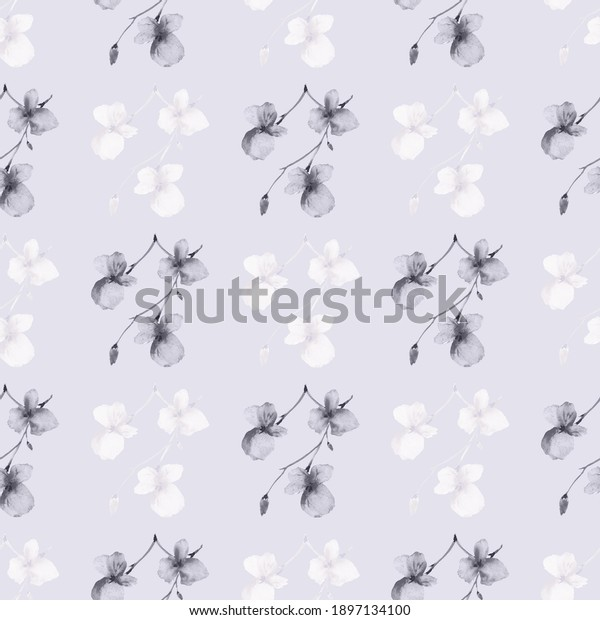 Seamless pattern wild small gray and white flowers on a light violet background. Watercolor