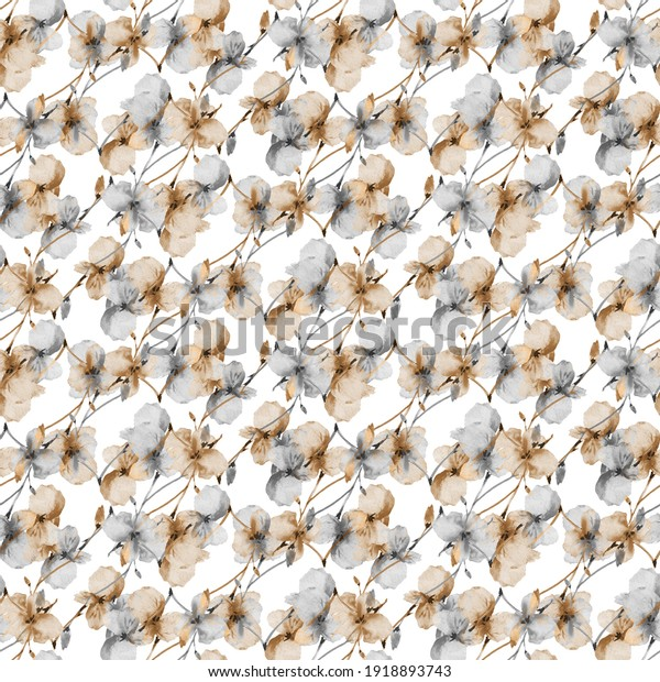 Seamless pattern of wild small gray and beige flowers on a white background. Watercolor. Floral background