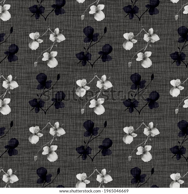 Seamless pattern wild small gray and dark flowers on a black linen  background. Watercolor