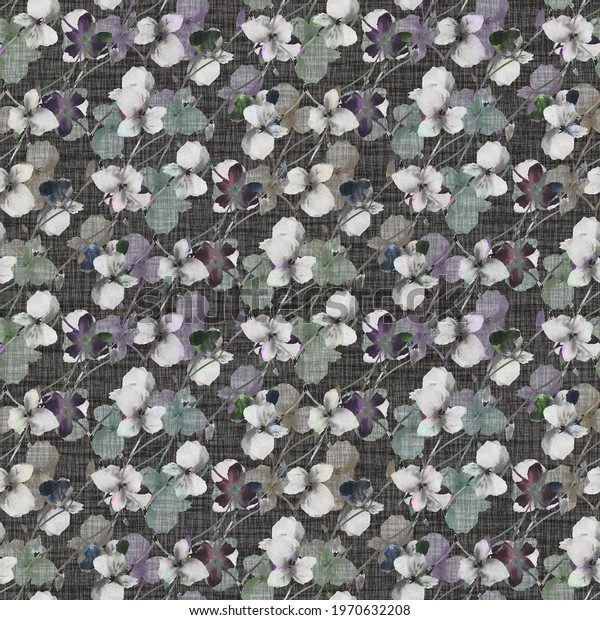 Seamless pattern wild small gray, violet, green flowers on a dark linen  background. Watercolor