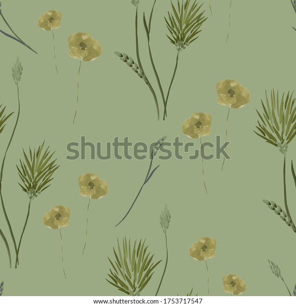 Seamless pattern of wild small green  summer flowers on a deep green background. Watercolor