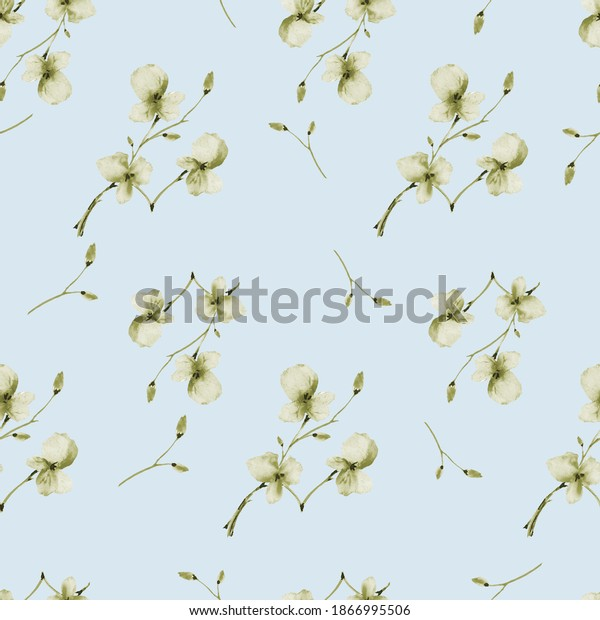 Seamless pattern wild small green  flowers on a light blue background. Watercolor