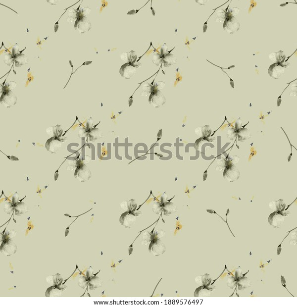 Seamless pattern of wild small green flowers on a green background. Watercolor