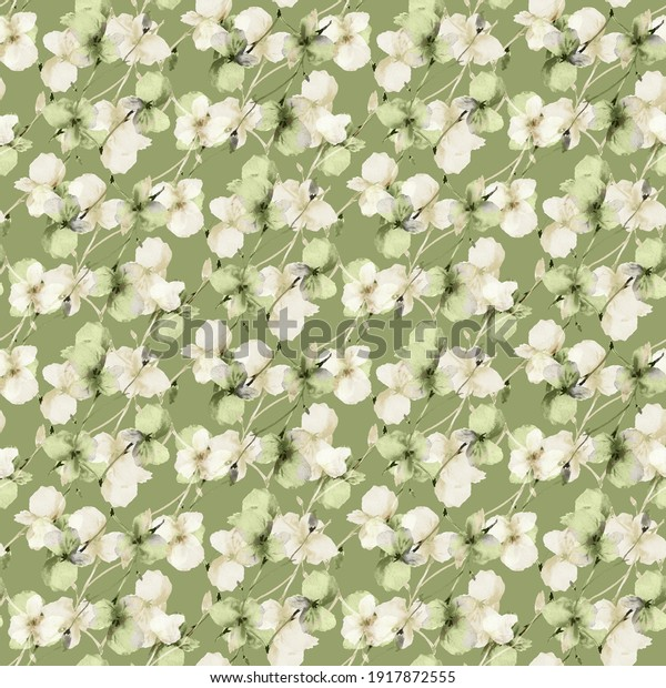 Seamless pattern of wild small green and beige flowers on a deep green background. Watercolor. Floral background