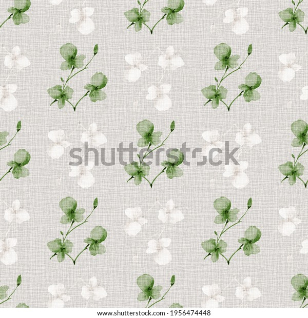 Seamless pattern wild small green and white  flowers on a light linen beige background. Watercolor -2