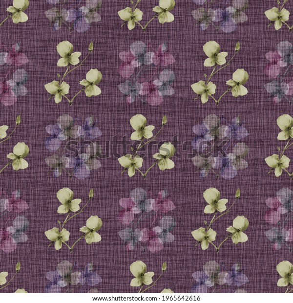Seamless pattern wild small green and pink flowers on a dark violet background. Watercolor