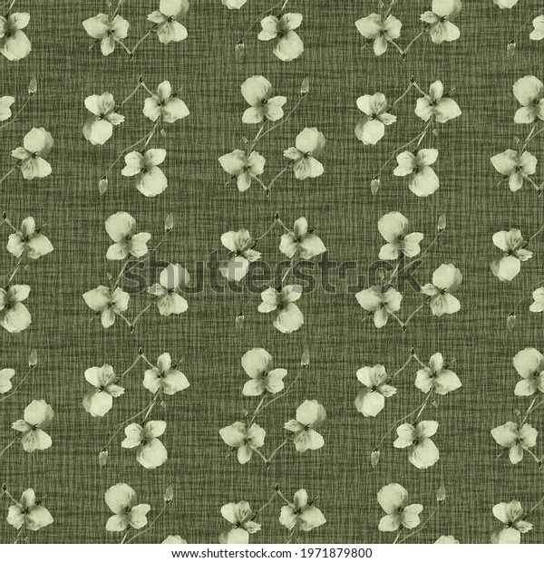 Seamless pattern wild small green flowers on a linen dark green background. Watercolor