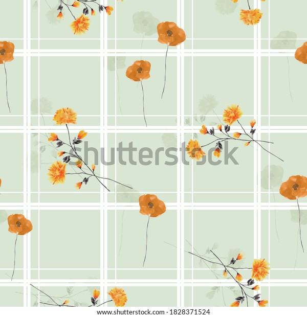 Seamless pattern of wild, small orange and gray flowers in a white cell on a green background. Watercolor