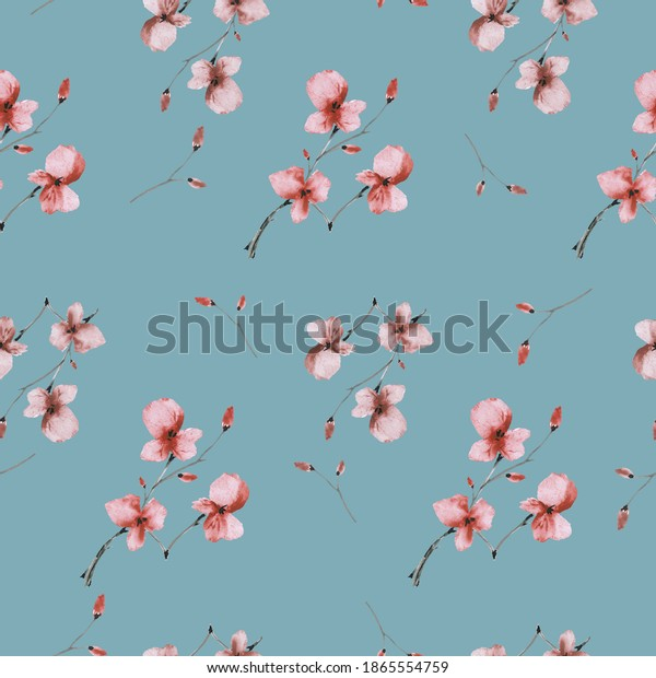 Seamless pattern wild small orange and beige flowers on a deep turquoise background. Watercolor