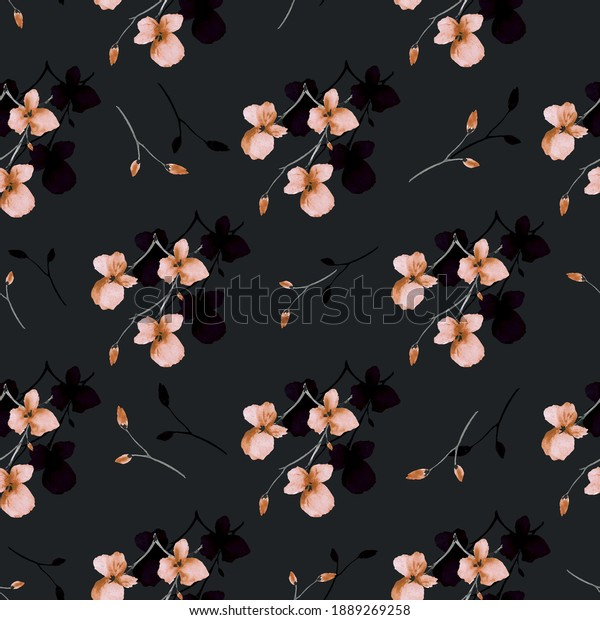 Seamless pattern of wild small orange and dark flowers on the black background. Watercolor