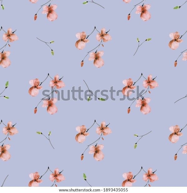 Seamless pattern wild small orange and green flowers on a deep violet background. Watercolor