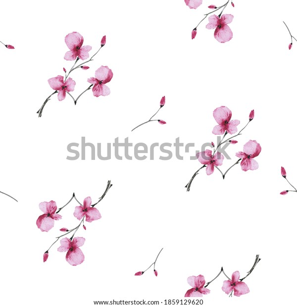 Seamless pattern wild  small pink flowers on a white background. Watercolor -2