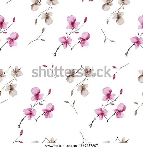 Seamless pattern wild small pink and beige flowers on a white background. Watercolor