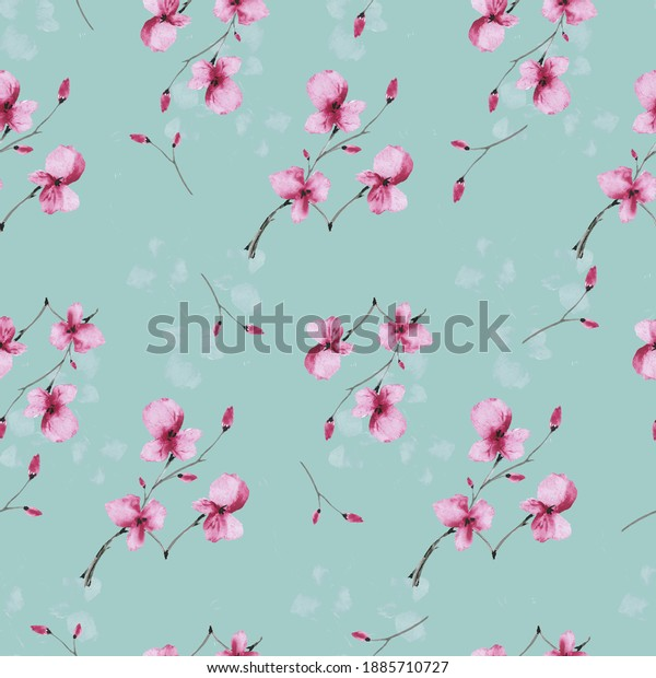 Seamless pattern wild small pink  flowers on a deep turquoise background. Watercolor