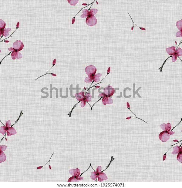 Seamless pattern wild  small pink flowers on the beige canvas background. Watercolor