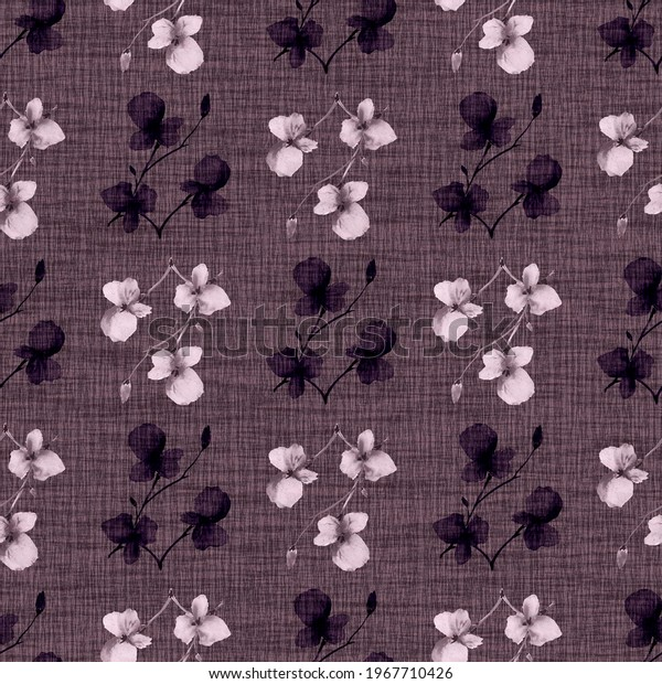 Seamless pattern wild small pink and dark flowers on a dark violet background. Watercolor