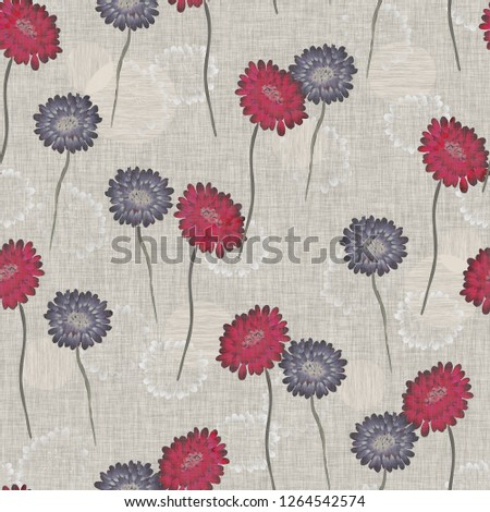 Seamless pattern of wild small red and violet flowers on a beige linen background. Watercolor -1