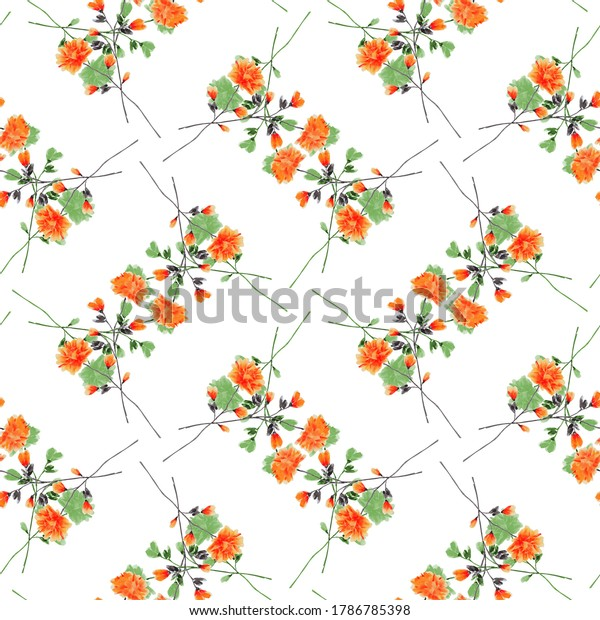 Seamless pattern wild small red and green flowers on a white background. Ornament. Watercolor