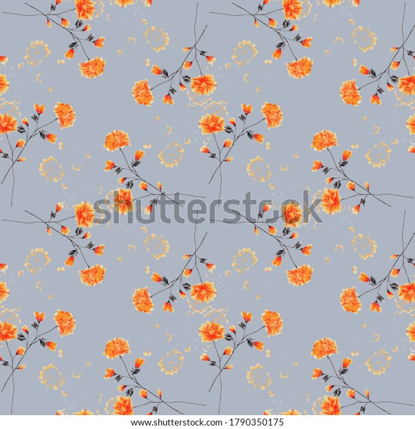 Seamless pattern wild small red flowers on a gray background. Ornament. Watercolor