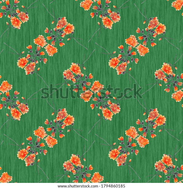 Seamless pattern wild small red flowers on a green background. Ornament. Watercolor