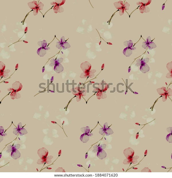 Seamless pattern wild small red and violet flowers on a beige background. Watercolor