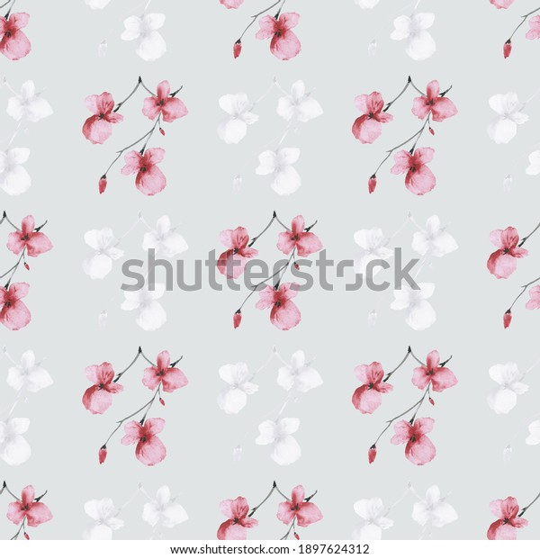 Seamless pattern wild small red flowers on a light gray background. Watercolor