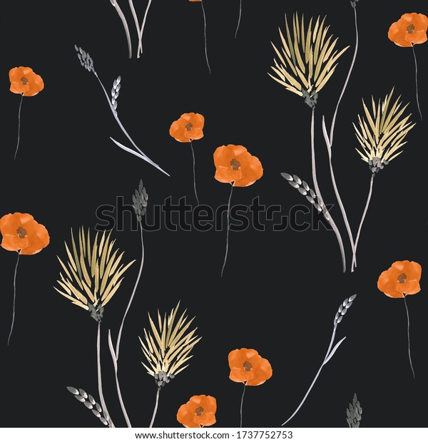 Seamless pattern of wild small summer yellow and orange flowers on the black background. Watercolor