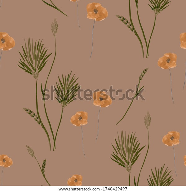 Seamless pattern of wild small summer green and orange flowers on a beige background. Watercolor