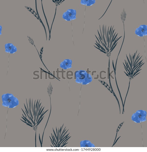 Seamless pattern of wild small summer blue flowers on a deep gray background. Watercolor