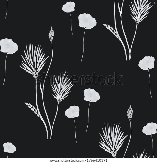 Seamless pattern of wild small summer white flowers on the black background. Watercolor- 1