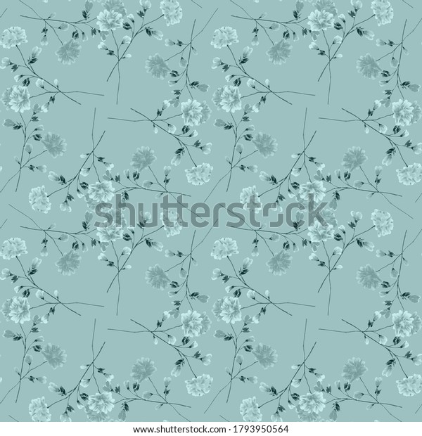 Seamless pattern wild small turquoise flowers on a turquoise background. Ornament. Watercolor