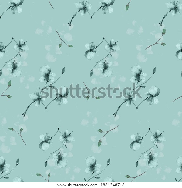 Seamless pattern wild small turquoise and gray flowers on a turquoise background. Watercolor