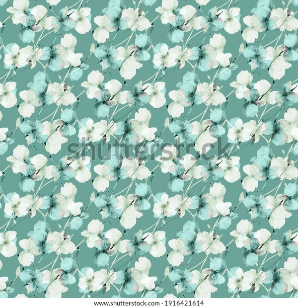 Seamless pattern of wild small turquoise and beige flowers on a deep turquoise background. Watercolor. Floral background