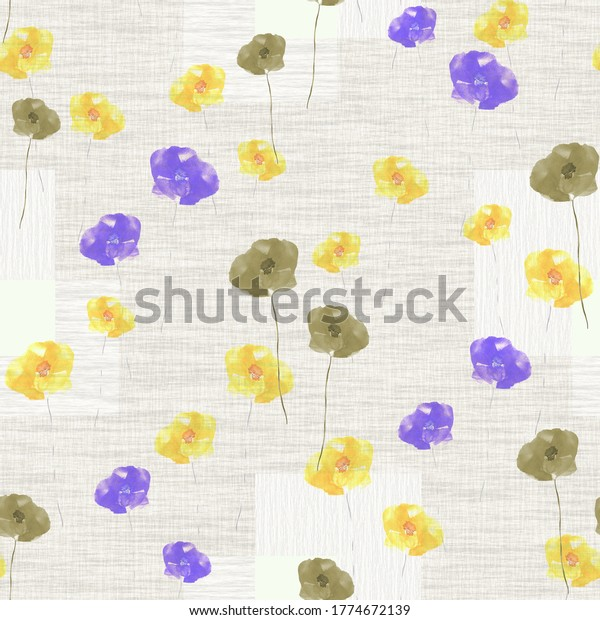 Seamless pattern of wild small violet, yellow and green flowers on a light beige background with squares . Watercolor