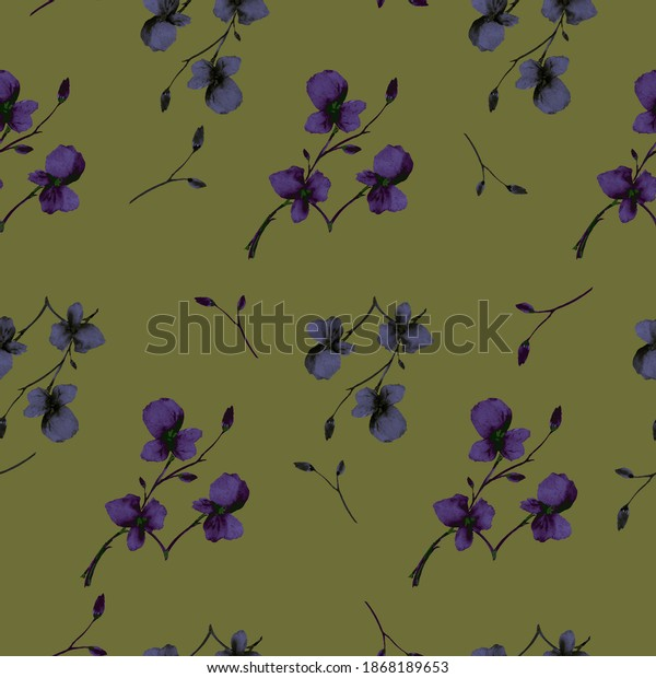 Seamless pattern wild small violet flowers on a dark green background. Watercolor