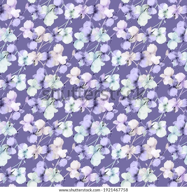 Seamless pattern of wild small violet and green flowers on a dark violet background. Watercolor. Floral background