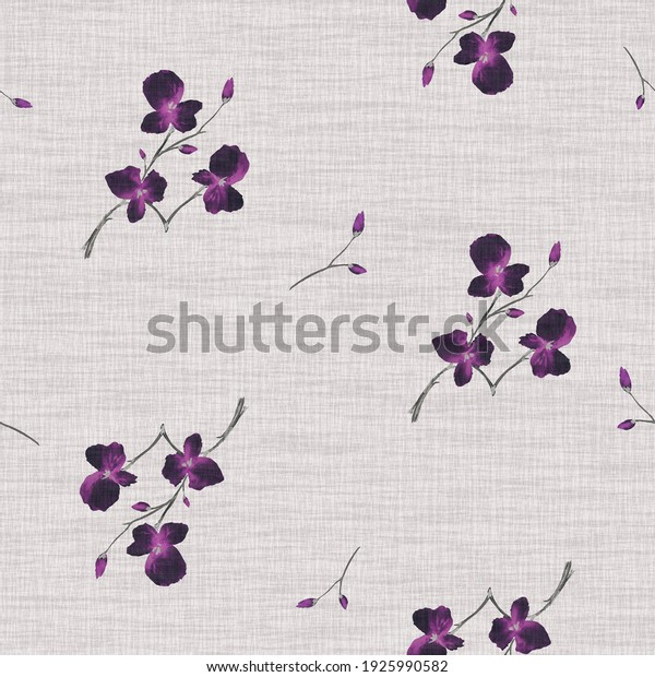 Seamless pattern wild  small violet flowers on the pink linen background. Watercolor