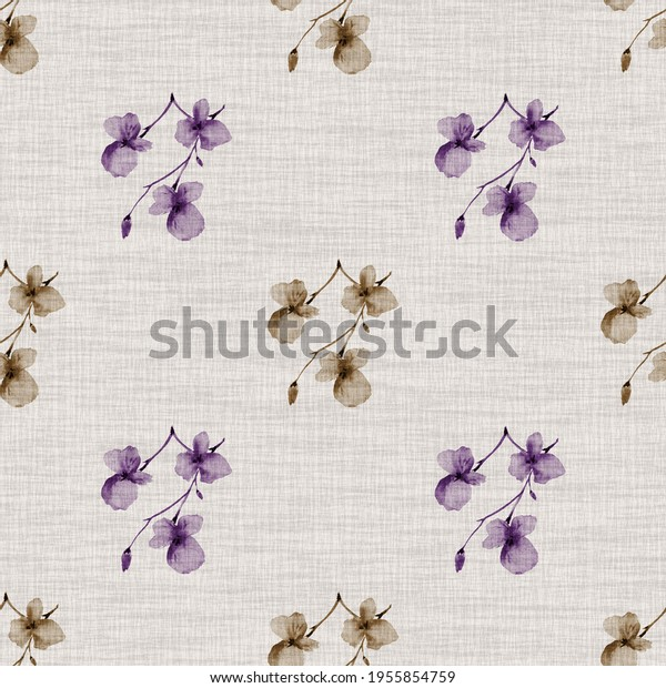 Seamless pattern wild small violet and beige  flowers on a light linen beige background. Watercolor