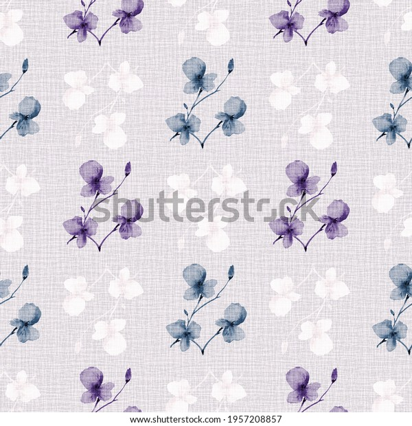 Seamless pattern wild small violet, blue, white flowers on a light linen pink background. Watercolor -2