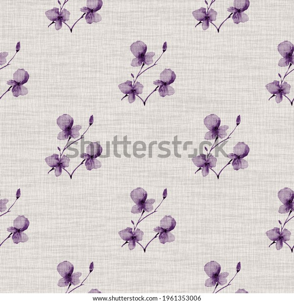 Seamless pattern wild small violet flowers on a light pink background. Watercolor