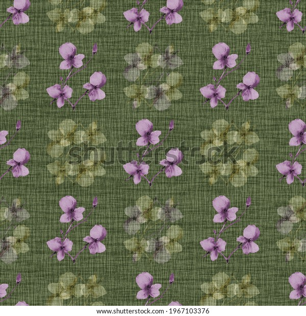 Seamless pattern wild small violet and green flowers on a dark green background. Watercolor